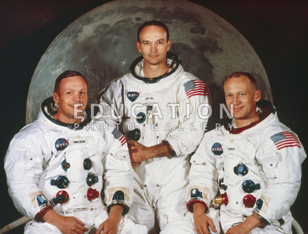 "Formal portrait of the crew of Apollo 11, the first manned mission to land on the moon. Left to right are Neil A. Armstrong, Michael Collins and Edwin E. (""Buzz"") Aldrin. Armstrong was the first man to step on the moon, followed by Aldrin, on July 20, 1969. Collins remained in lunar orbit in the Apollo 11 Command and Service Module."