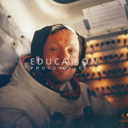 Apollo 11 photograph of Commander Neil Armstrong inside the Lunar module. Armstrong was the first man to walk on the Moon. Apollo 11 was the first manned lunar landing mission and was launched on 16 July 1969. It landed on the Moon on 20 July.