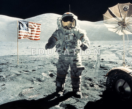 The last man on the Moon. Astronaut Eugene Cernan stands on the Moon during the Apollo 17 mission. At right is part of the Lunar Roving Vehicle (LRV), with its communications antenna. Apollo 17 arrived on the Moon in the Taurus-Littrow site at the southern edge of the Mare Serenitatis on 11 December 1972. Cernan and fellow astronaut Harrison Schmitt spent 72 hours on the Moon, performing three excursions in the LRV. This was the last Apollo Moon mission, and Cernan was the last human to stand on the surface of the Moon. Astronaut Ronald Evans remained in the orbiting Command Module. The astronauts returned safely to Earth on 19 December 1972.