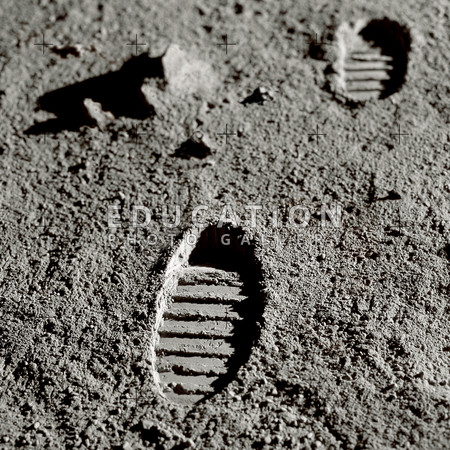 Astronaut footprints on the Moon. Computer artwork recreating a photograph of boot imprints left by astronauts on the Moon. A total of twelve US astronauts have walked on the Moon as part of NASA's Apollo missions. Neil Armstrong was the first, in 1969, and Harrison Schmitt and Eugene Cernan were the last, in 1972. There are plans to return to the Moon by 2020.