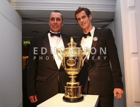 Men's Singles Champion Andy Murray of Great Britain (C) poses with Coach Ivan Lendl (L) during the Wimbledon Championships 2013 Winners Ball at InterContinental Park Lane Hotel on July 7, 2013 in London, England.  (Photo by Julian Finney/Getty Images)