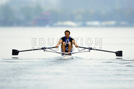 HAZEWINKEL, BELGIUM - APRIL 13:  James Cracknell of Leander moves away from the start in the semi-final of the men's sculls during the Great Britain National Team Rowing Trials on April 13, 2004 in Hazewinkel, Belgium.  (Photo by David Rogers/Getty Images) *** Local Caption *** James Cracknell