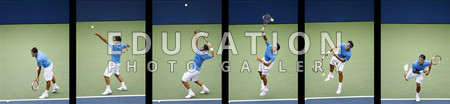 A 6 stage sequence capturing the superb grace, power and efficiency in the service action of the world number 1 Roger Federer from Switzerland. The photos were taken during the US Open at Flushing Meadows, in New York in September 2006 - during which he became the first player in history to win 3 straight Wimbledon and US Open titles.